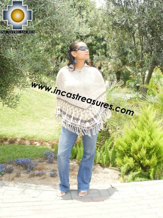 Alpaca Poncho short stripes UNISEX  - Product id: ALPACA-PONCHO09-09 Photo01