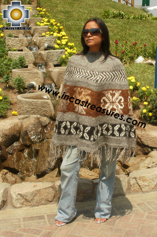 Alpaca Poncho short stripes UNISEX  - Product id: ALPACA-PONCHO12-01 Photo01