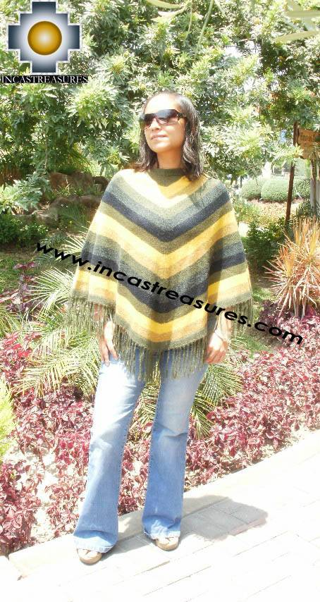 Alpaca Poncho short stripes UNISEX  - Product id: ALPACA-PONCHO09-05 Photo01