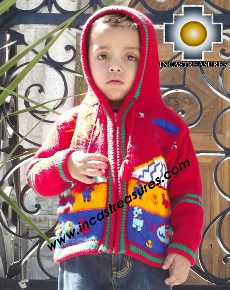 100% Alpaca Children Sweater with Hood tomatito  - Product id: children-sweater13-02 Photo02