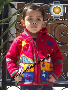 100% Alpaca Children Sweater with Hood tomatito  - Product id: children-sweater13-02 Photo04
