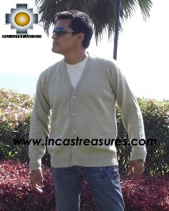 Men Alpaca Sweater Cardigan with buttons - Product id: womens-100-baby-alpaca-sweater13-01 Photo03