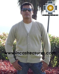 Men Alpaca Sweater Cardigan with buttons - Product id: womens-100-baby-alpaca-sweater13-01 Photo02