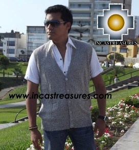 Men Alpaca Sweater Cardigan vest with buttons - Product id: womens-100-baby-alpaca-sweater13-03 Photo03