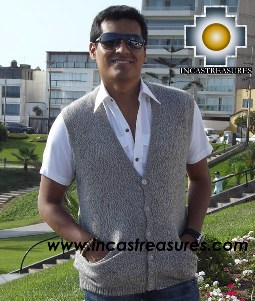 Men Alpaca Sweater Cardigan vest with buttons - Product id: womens-100-baby-alpaca-sweater13-03 Photo02