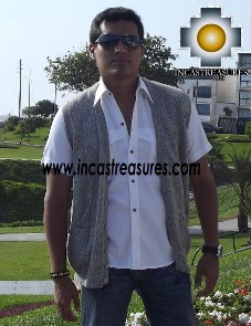Men Alpaca Sweater Cardigan vest with buttons - Product id: womens-100-baby-alpaca-sweater13-03 Photo01