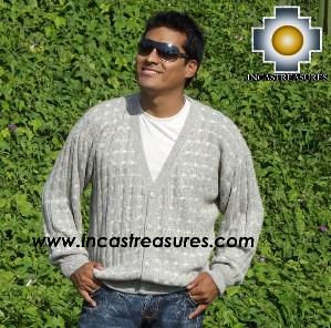 Men's 100% baby alpaca Cardigan Dots  - Product id: mens-100-baby-alpaca-sweater13-06 Photo01