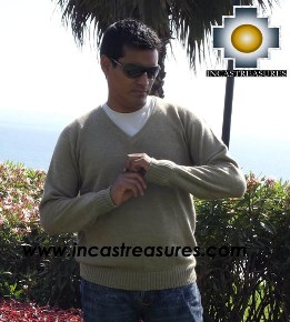 Men Alpaca Sweater V neck - Product id: womens-100-baby-alpaca-sweater13-11 Photo03
