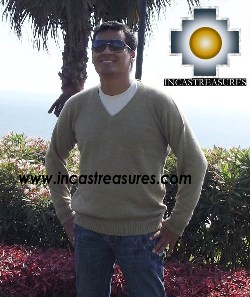 Men Alpaca Sweater V neck - Product id: womens-100-baby-alpaca-sweater13-11 Photo01