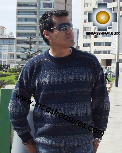 100% alpaca wool sweater for men Winter- Product id: mens-alpaca-sweater12-03 Photo01
