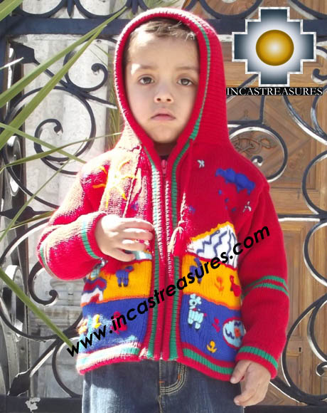 100% Alpaca Children Sweater with Hood tomatito  - Product id: children-sweater13-02