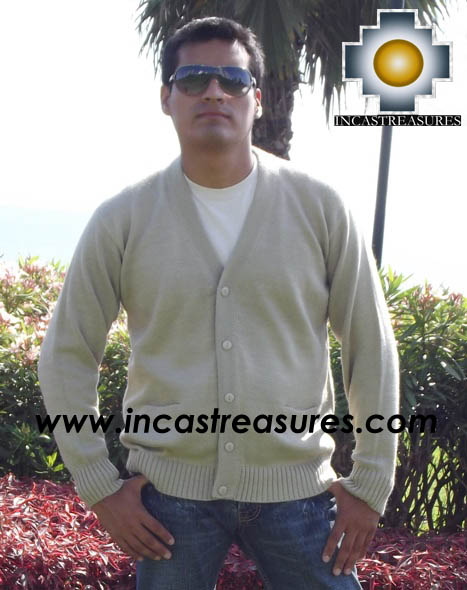 Men Alpaca Sweater Cardigan with buttons - Product id: womens-100-baby-alpaca-sweater13-01