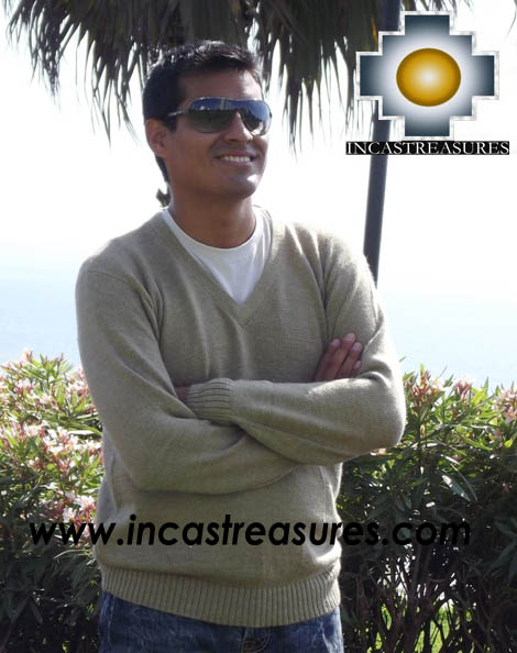 Men Alpaca Sweater V neck - Product id: womens-100-baby-alpaca-sweater13-11