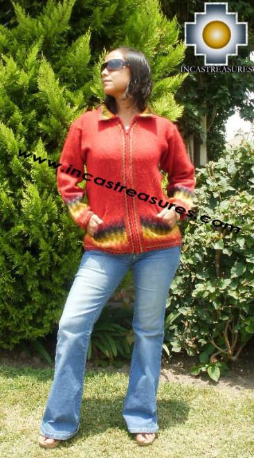 Women alpaca sweater ananaw with zipper  - Product id: womens-alpaca-sweater11-01 Photo03