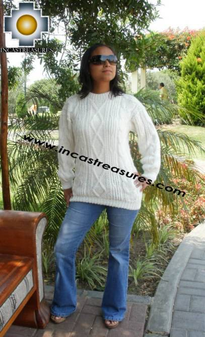 women alpaca sweater white-irish  - Product id: womens-alpaca-sweater11-07 Photo03