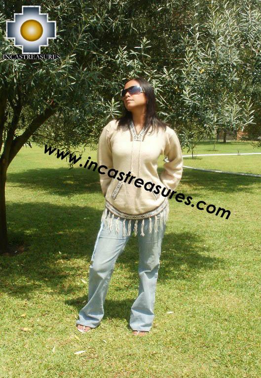 100% Alpaca Women Sweatshirt Shakira  - Product id: women-alpaca-sweater15-03 Photo01