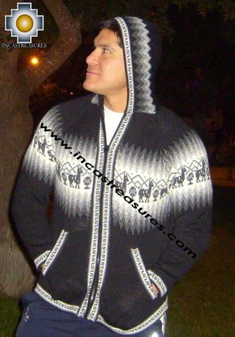 100% Alpaca Men Sweatshirt Quilla  - Product id: MENS-SWEATER09-04 Photo03
