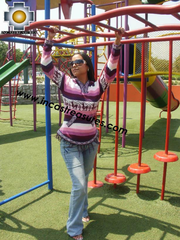 100% Alpaca Women Sweatshirt picaflor  - Product id: women-alpaca-sweater12-05 Photo03