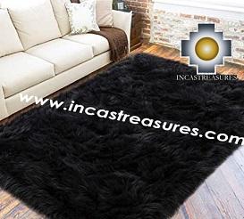 100% baby alpaca fur Rug Borderless Black - Product id: ALPACA-FUR-RUG-13-07 Photo02