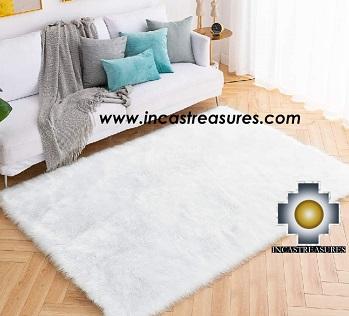 100% baby alpaca fur Rug Borderless white - Product id: ALPACA-FUR-RUG-13-10 Photo01