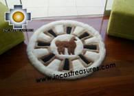 100% Alpaca baby alpaca round fur rug alpaca wheel - Product id: ALPACAFURRUG10-02 Photo03