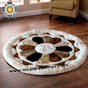 100% Alpaca baby alpaca round Fur Rug Magic Flower - Product id: ALPACAFURRUG14-02 Photo03
