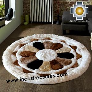 100% Alpaca baby alpaca round Fur Rug Magic Flower - Product id: ALPACAFURRUG14-02 Photo04
