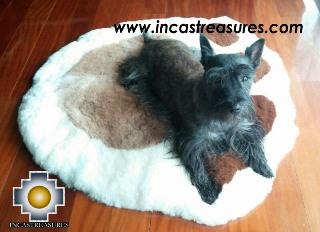 100% Alpaca baby alpaca round fur rug paw - Product id: ALPACAFURRUG14-01 Photo01