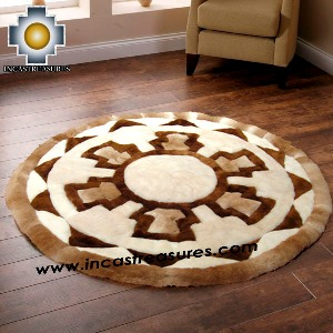 100% Alpaca baby alpaca round Fur Rug Round Shield - Product id: ALPACAFURRUG14-04 Photo03