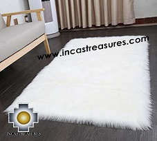 100% baby alpaca Suri fur Rug white Borderless  - Product id: ALPACA-FUR-RUG-13-04 Photo01