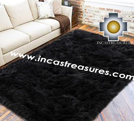 100% baby alpaca fur Rug Borderless Black - Product id: ALPACA-FUR-RUG-13-07