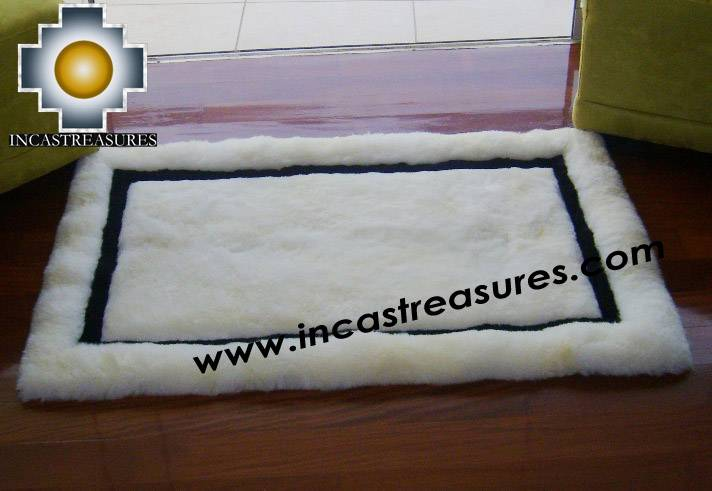 baby alpaca geometric fur rug Andean Mirror
