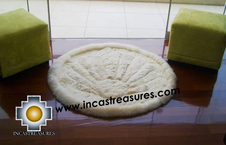 100% Alpaca baby alpaca round fur rug beige shell - Product id: ALPACAFURRUG10-03 Photo02