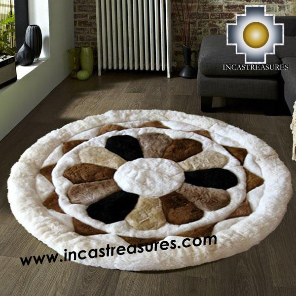 Exceptional ... 100% Alpaca Baby Alpaca Round Fur Rug Magic Flower   Product Id:  ALPACAFURRUG14  ...