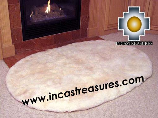 100% baby alpaca fur Rug round Corners  - Product id: ALPACA-FUR-RUG-13-05