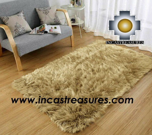 100% baby alpaca Suri fur Rug Camel Borderless  - Product id: ALPACA-FUR-RUG-13-02