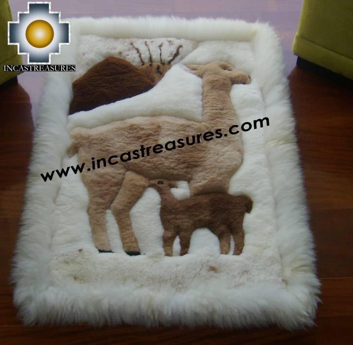 Marvelous 100% Alpaca Baby Alpaca Round Fur Rug Vicugna Family   Product Id:  ALPACAFURRUG10  ...