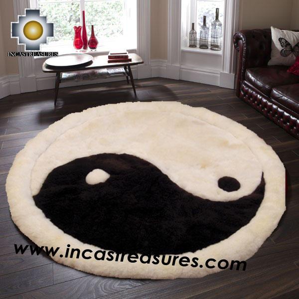 100% Alpaca baby alpaca round Fur Rug Yin Yang - Product id: ALPACAFURRUG14-05