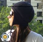 Alpaca Wool Hat Arawi Black, solid Color Chullo - available in 14 colors - Product id: Alpaca-Hats09-27 Photo03