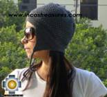 Alpaca Wool Hat Arawi darkgray, solid Color Chullo - available in 14 colors - Product id: Alpaca-Hats09-30 Photo03