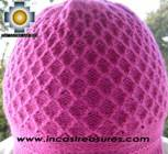 Alpaca Wool Hat Arawi fuchsia, solid Color Chullo - available in 14 colors - Product id: Alpaca-Hats09-32 Photo02