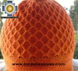 Alpaca Wool Hat Arawi orange, solid Color Chullo - available in 14 colors - Product id: Alpaca-Hats09-35 Photo02