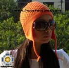 Alpaca Wool Hat Arawi orange, solid Color Chullo - available in 14 colors - Product id: Alpaca-Hats09-35 Photo01