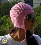 Alpaca Wool Hat Arawi pink, solid Color Chullo - available in 14 colors - Product id: Alpaca-Hats09-36 Photo01