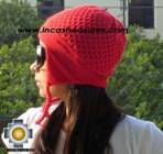 Alpaca Wool Hat Arawi red, solid Color Chullo - available in 14 colors - Product id: Alpaca-Hats09-38 Photo03
