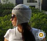 Alpaca Wool Hat Arawi silvergray, solid Color Chullo - available in 14 colors - Product id: Alpaca-Hats09-40 Photo03