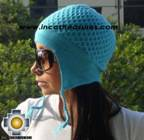 Alpaca Wool Hat Arawi skyblue, solid Color Chullo - available in 14 colors - Product id: Alpaca-Hats09-39 Photo03