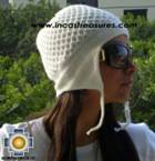 Alpaca Wool Hat Arawi white, solid Color Chullo - available in 14 colors - Product id: Alpaca-Hats09-31 Photo01