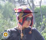 Alpaca Wool Hat Geometric Design fire -  Product id: Alpaca-Hats09-22 Photo02
