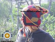 Alpaca Wool Hat Geometric Design fire -  Product id: Alpaca-Hats09-22 Photo01